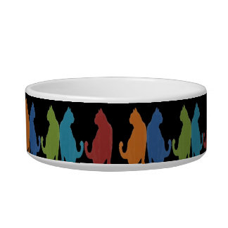 Colorful Cats on Black Background Bowl