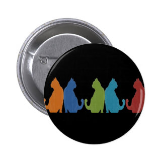 Colorful Cats on Black Background 2 Inch Round Button
