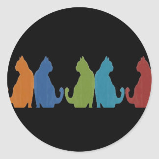 Colorful Cats on Black Background Classic Round Sticker