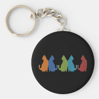 Colorful Cats on Black Background Keychain