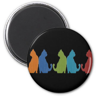 Colorful Cats on Black Background Fridge Magnets