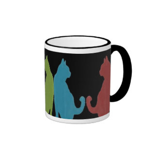Colorful Cats on Black Background Mugs