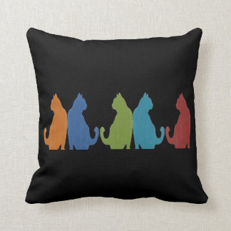 Colorful Cats on Black Background Throw Pillow