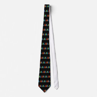 Colorful Cats on Black Background Tie