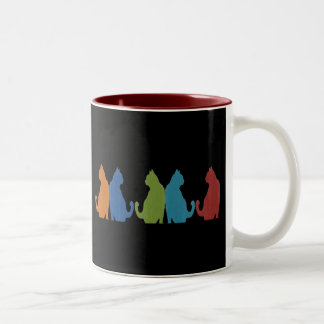Colorful Cats on Black Background Two-Tone Coffee Mug