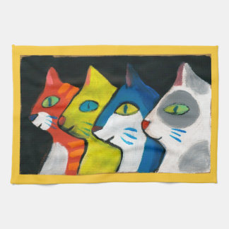 colorful cats profile towel