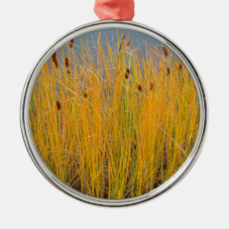 Colorful Cattails Metal Ornament