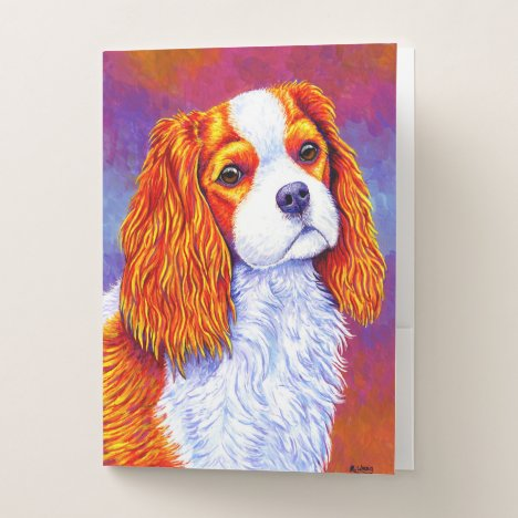 Colorful Cavalier King Charles Spaniel Dog Folders