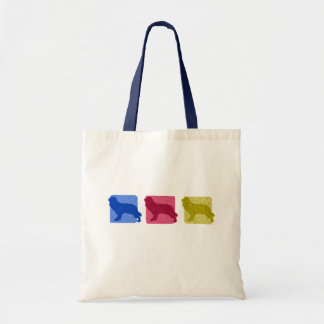 Colorful Cavalier King Charles Spaniel Silhouettes Tote Bag