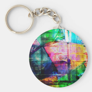 Colorful CD Cases Collage Keychain