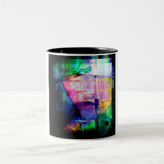 Colorful CD Cases Collage Two-Tone Coffee Mug