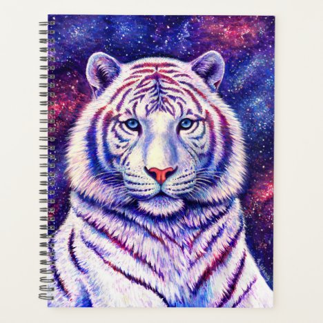 Colorful Celestial Galaxy White Tiger Planner