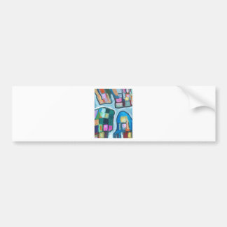 Colorful Cellular Bay (abstract expressionism) Bumper Sticker