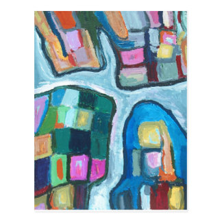 Colorful Cellular Bay (abstract expressionism) Postcard