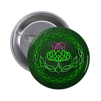 Colorful Celtic Knot Thistle Pinback Buttons