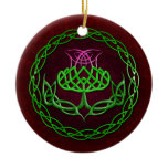 Colorful Celtic Knot Thistle Ceramic Ornament
