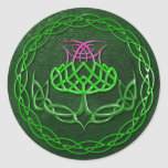 Colorful Celtic Knot Thistle Classic Round Sticker