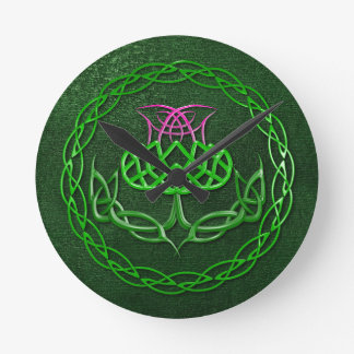 Colorful Celtic Knot Thistle Round Wallclock