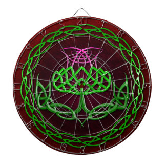 Colorful Celtic Knot Thistle Dartboard With Darts