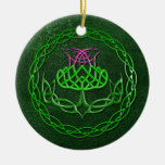 Colorful Celtic Knot Thistle Double-Sided Ceramic Round Christmas Ornament