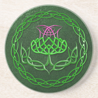 Colorful Celtic Knot Thistle Drink Coaster