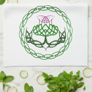 Colorful Celtic Knot Thistle Hand Towels