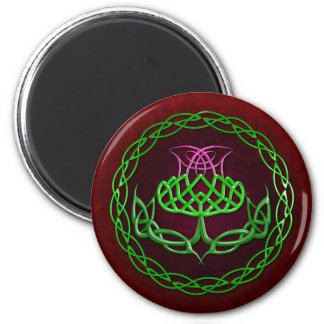 Colorful Celtic Knot Thistle 2 Inch Round Magnet