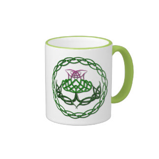 Colorful Celtic Knot Thistle Ringer Coffee Mug