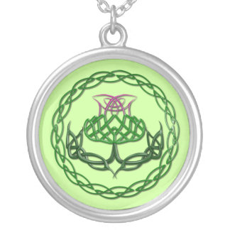 Colorful Celtic Knot Thistle Round Pendant Necklace