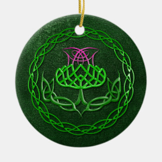Colorful Celtic Knot Thistle Christmas Tree Ornaments