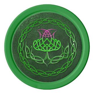 Colorful Celtic Knot Thistle Poker Chip Set