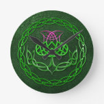 Colorful Celtic Knot Thistle Round Clock