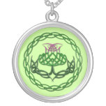 Colorful Celtic Knot Thistle Silver Plated Necklace