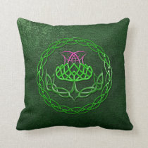 Colorful Celtic Knot Thistle Throw Pillow