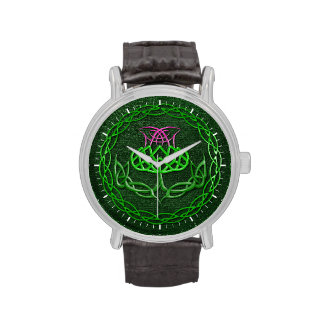 Colorful Celtic Knot Thistle Wrist Watch