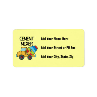 Colorful Cement Mixer Label