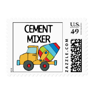 Colorful Cement Mixer Postage Stamp