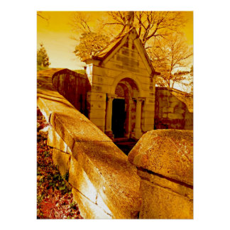 Colorful cemetary scene poster