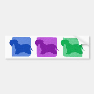 Colorful Cesky Terrier Silhouettes Bumper Sticker