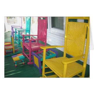 colorful chairs on a porch greeting cards