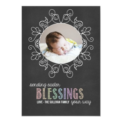 Colorful Chalk   Happy Easter Photo Flat Card