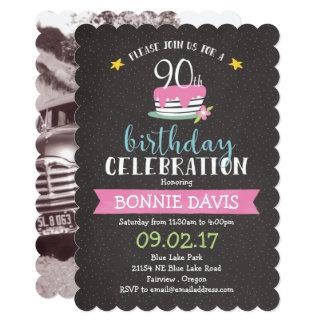 Colorful Chalkboard 90th Birthday Card