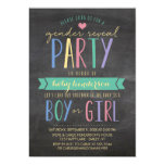 Colorful Chalkboard Gender Reveal Party Invitation