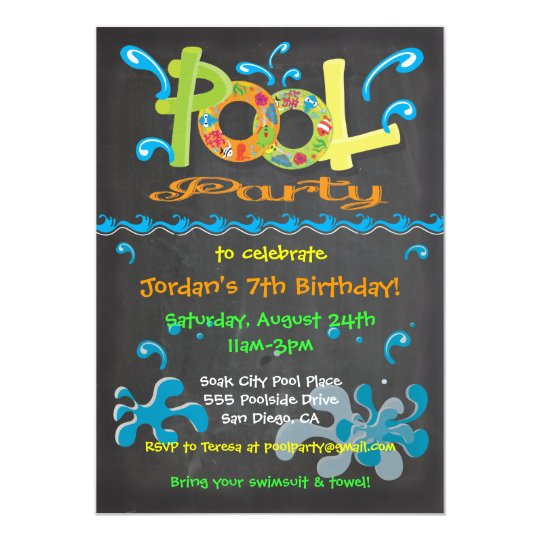 Colorful Chalkboard Pool Party Invitations | Zazzle