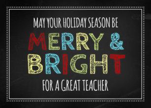 colorful chalkboard teacher merry christmas card