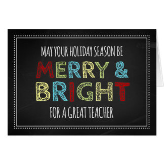 Colorful Chalkboard Teacher Merry Christmas Card