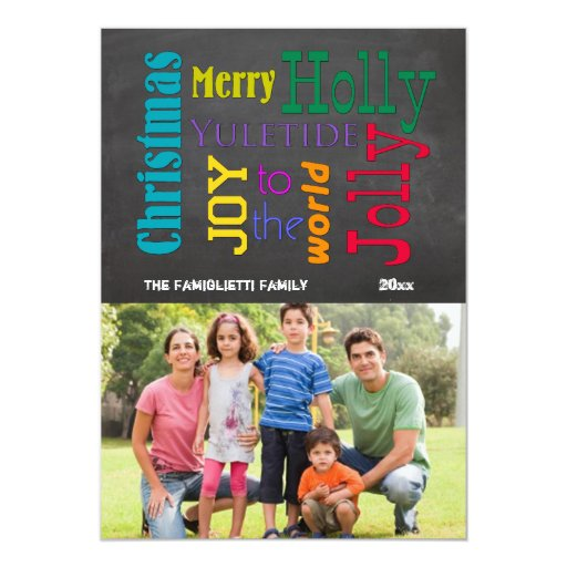 Colorful Chalkboard Typography Flat Photo Card