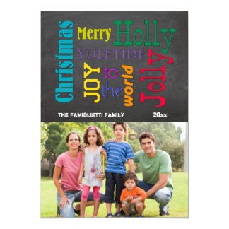 Colorful Chalkboard Typography Flat Photo Card Personalized Announcement