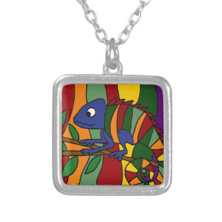 Colorful Chameleon Abstract Square Pendant Necklace