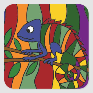 Colorful Chameleon Abstract Square Sticker